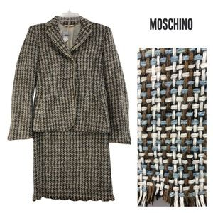 Moschino Vintage Wool Weave Jacket / Skirt Suit